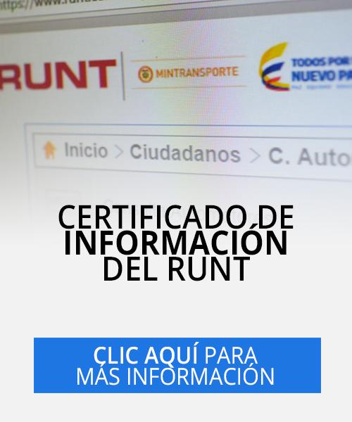 solicitar certificado de información del RUNT en Cali